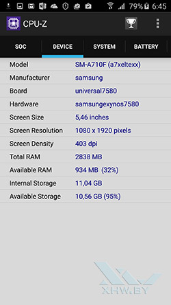 Система Samsung Galaxy A7 (2016)