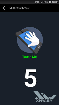 Экран Samsung Galaxy A3 (2016) распознает 5 касаний