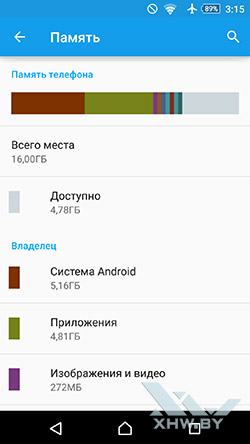Память Sony Xperia M5
