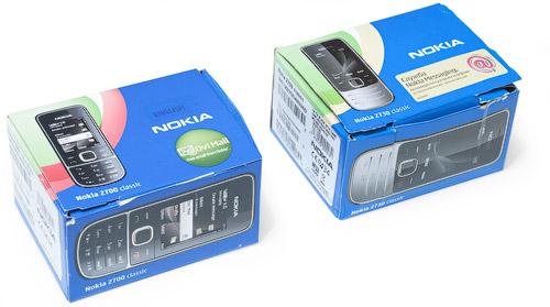 Коробки Nokia 2700 classic и Nokia 2730 classic