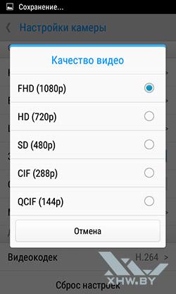 Разрешение видео на Lenovo A1000