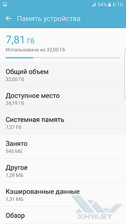 Память Samsung Galaxy S7 edge