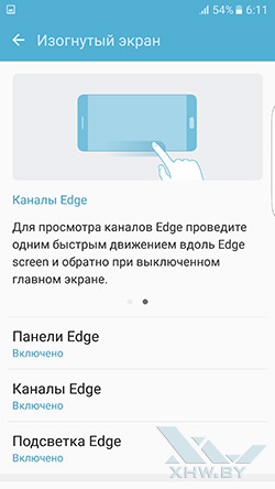 Параметры изогнутого экрана Samsung Galaxy S7 edge