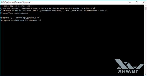 Командная строка Ubuntu в Windows 10 Anniversary. Рис. 3