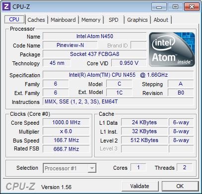 Процессор ASUS Eee PC 1015PD