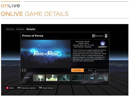 OnLive Game Details