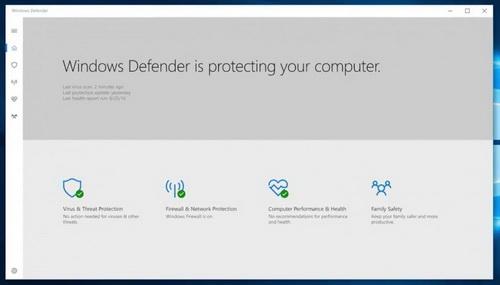 Новый интерфейс Windows Defender