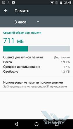 Информация о памяти Motorola Moto G (3rd)