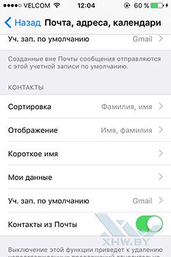 Назначение Gmail записью по умолчанию для контактов в iPhone