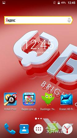 На домашнем экране BQ Strike Selfie BQS-5050 рекламируются сторонние приложения рис1
