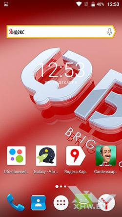 На домашнем экране BQ Strike Selfie BQS-5050 рекламируются сторонние приложения рис2