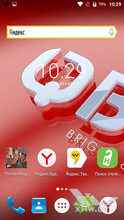 На домашнем экране BQ Strike Selfie BQS-5050 рекламируются сторонние приложения рис3