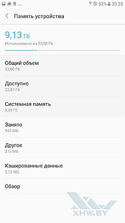 Память Samsung Galaxy A7 (2017)