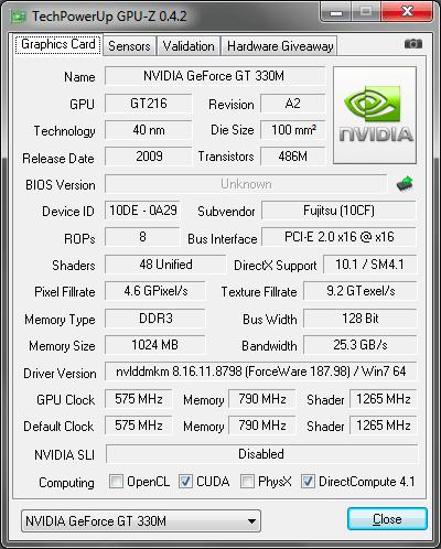 Видеокарта ноутбука Fujitsu LIFEBOOK NH570