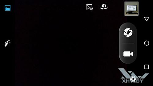 Интерфейс приложения при выборе фронтальной камеры Senseit R450