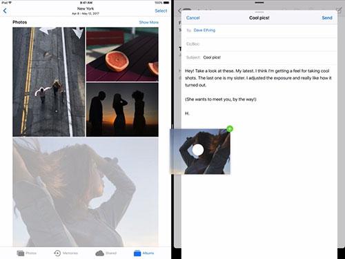 Перенос фотографии из галереи в письмо в iOS 11