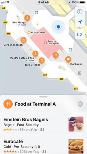 Maps в iOS 11 получили планы аэропортов, правда, только в США