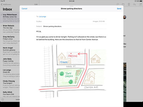 В iOS 11 рисунки, сделанные с помощью Pencil, будут аккуратно вставляться в письма
