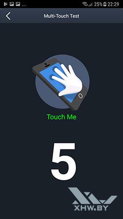 Количество прикосновений, регистрируемых экраном Galaxy J5 (2017)