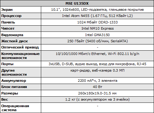 Конфигурация MSI U135DX