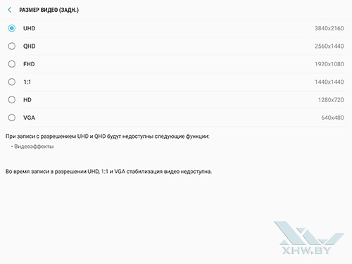 Разрешение видео основной камеры Samsung Galaxy Tab S3
