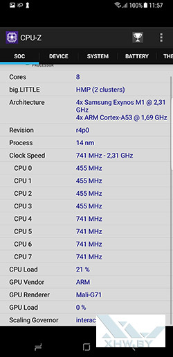 Процессор Samsung Galaxy S8+. Рис. 1