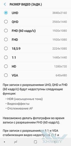 Разрешение видео основной камеры Galaxy Note 8