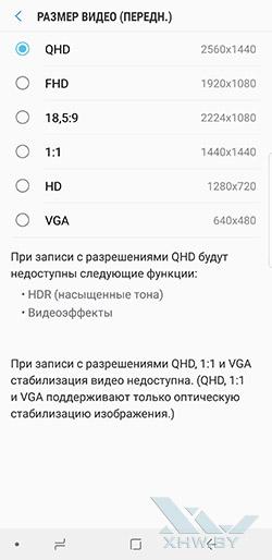 Разрешение видео фронтальной камеры Galaxy Note 8