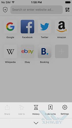 Aloha Browser на iPhone. Рис 1