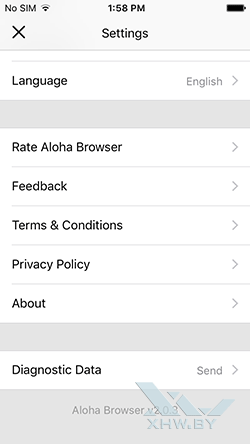 Aloha Browser на iPhone. Рис 3