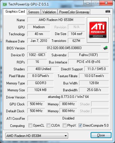 Видеокарта Fujitsu LIFEBOOK AH530