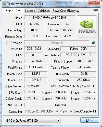 Видеокарта Fujitsu LIFEBOOK NH570