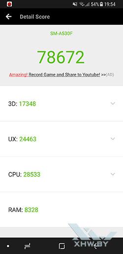 Результаты Samsung Galaxy A8 (2018) в Antutu