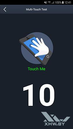 Количество прикосновений, регистрируемых экраном Galaxy J7 Neo
