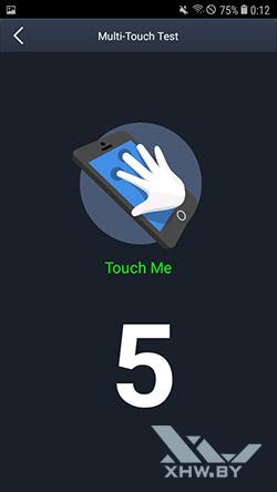 Количество прикосновений, регистрируемых экраном Galaxy J2 (2018)