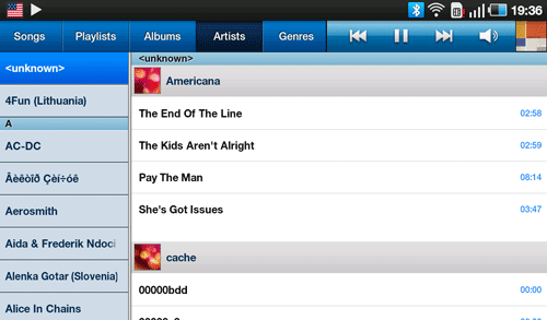 Аудио плеер Samsung Galaxy Tab