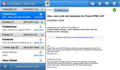 Просмотр письма на Samsung Galaxy Tab
