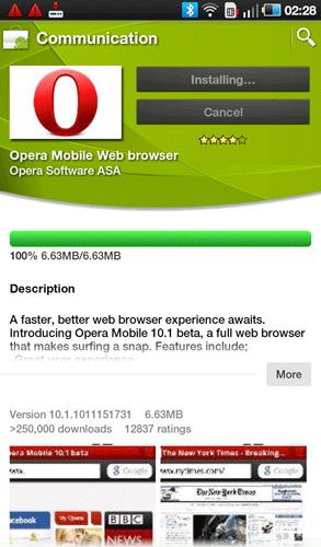 Opera в Android Market для Samsung Galaxy Tab