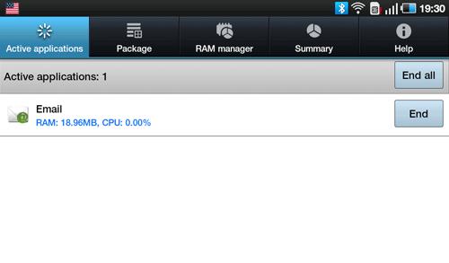 Диспетчер задач Samsung Galaxy Tab