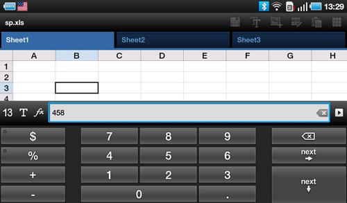 Электронные таблицы ThinkFree Office на Samsung Galaxy Tab