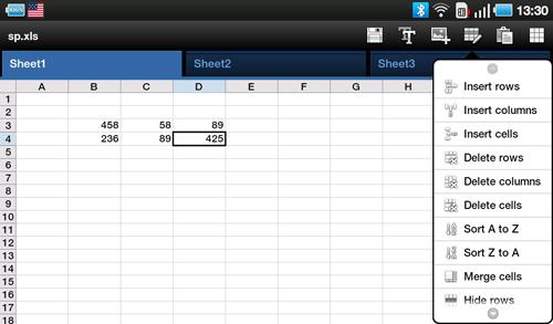 Электронные таблицы ThinkFree Office на Samsung Galaxy Tab. Рис. 2