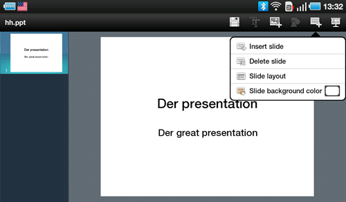 Презентации ThinkFree Office на Samsung Galaxy Tab