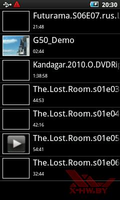 Приложение видео плеер в Samsung Galaxy Player 50. Рис. 1