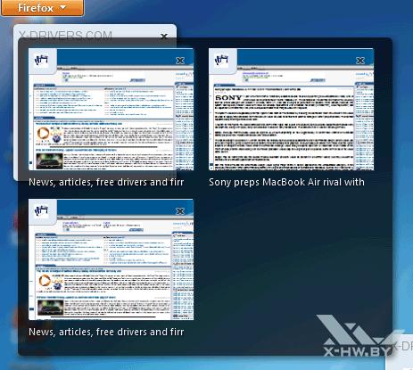 Предварительный просмотр «схлопнутых» вкладок в Firefox 4