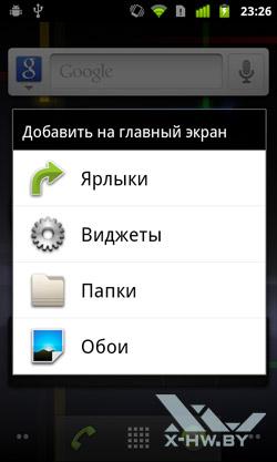 Добавление элементов на рабочий стол Google Nexus S. Рис. 1