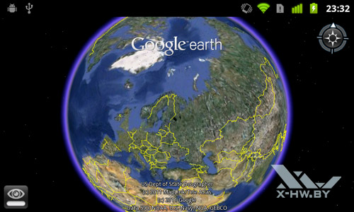 Google Earth на Google Nexus S. Рис. 2