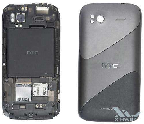 HTC Sensation со снятой крышкой и аккумулятором