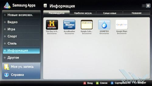 Информационные приложения Samsung Apps на Samsung T23A750