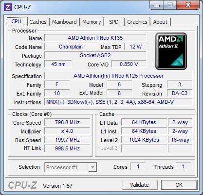 Процессор Acer Aspire One 521