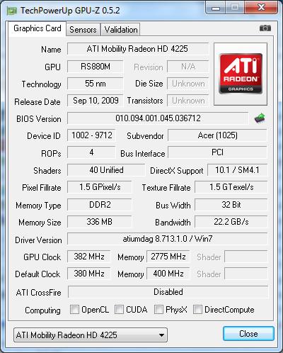 Видеокарта Acer Aspire One 521